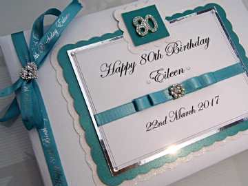 Personalised  80th Birthday Guest Book - Teal